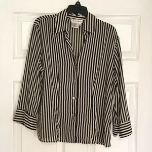 Taupe and black striped button down blouse